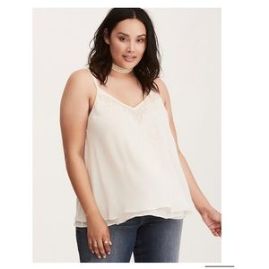 Torrid • ivory chiffon embroidered swing tank top